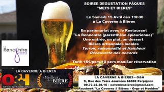 """Caverne à Bières Perpignan annonce sa sa Soirée Dégustation Pâques """"Mets et Bières"""" le 15 avril."""