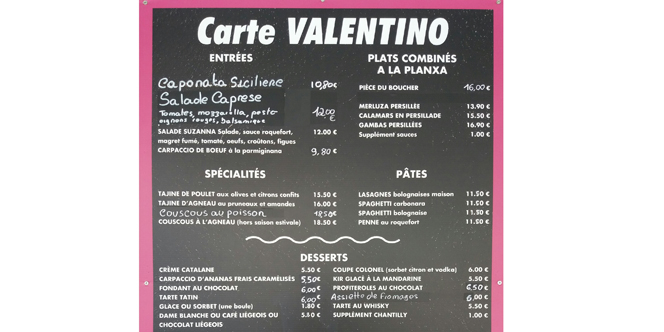 Valentino and Co Canet Restaurant : sa Carte